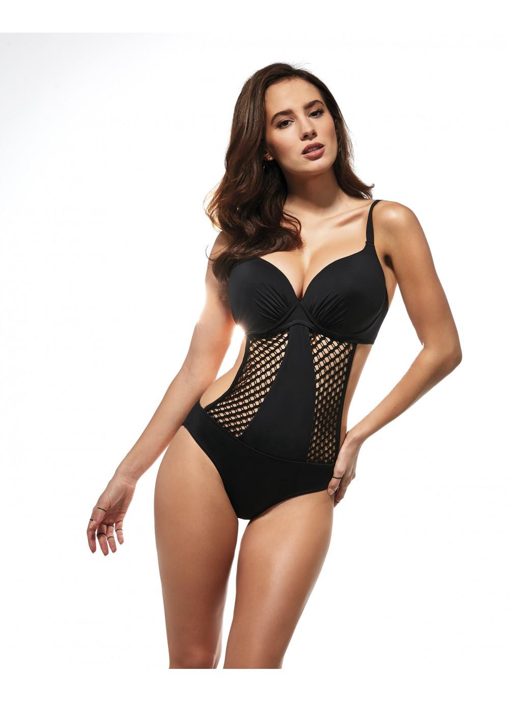 maillot de bain femme 1 pi ce noir avec trikini l gant effet push up. Black Bedroom Furniture Sets. Home Design Ideas