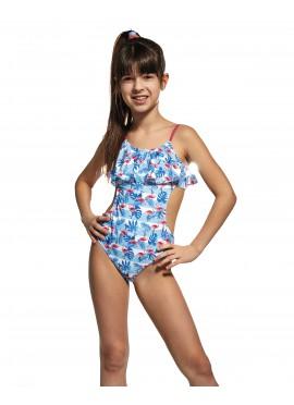 Maillot de Bain Enfant 1 pièce Trikini avec Voilure bleue
